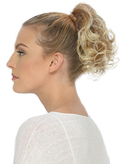 "This style features 9"" loose layered curls attached to a spring clip allowing for a quick and easy way to add some fun to your updo"