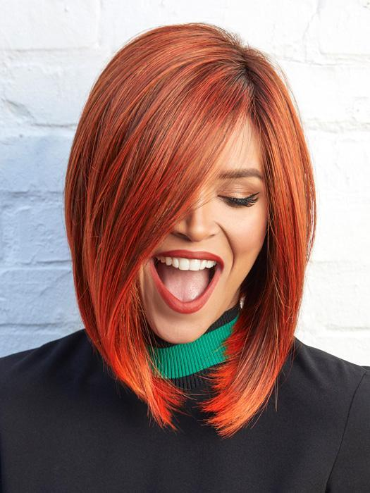 TAYLOR by NORIKO in RED COPPER | Copper-toned deep red with dark roots.