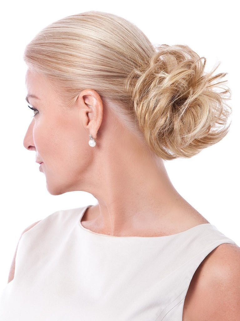 Just twist & wrap around your own short or long ponytail, and you are out-the-door in seconds