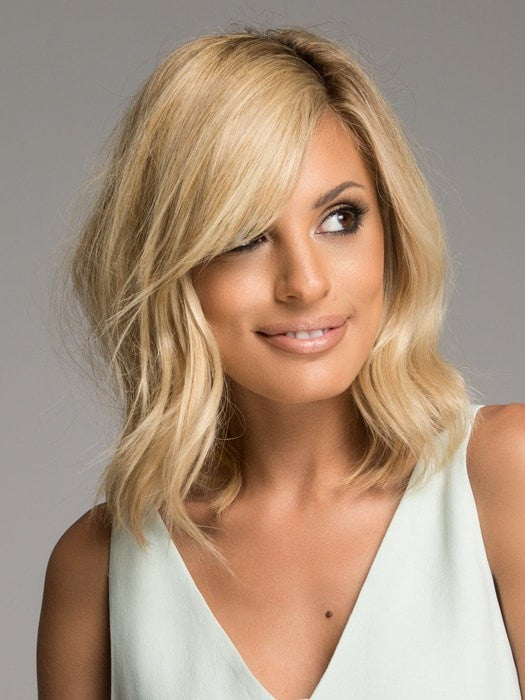 Color HT14/88H = Light Blonde | Full Sweeping Side Fringe Clip In Bang by Christie Brinkley