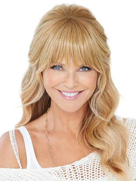 Color HT25 = Medium Golden Blonde | Natural Fringe Clip In Bang by Christie Brinkley