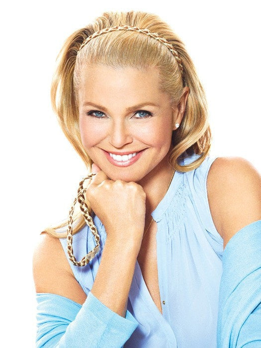 Color HT25 = Medium Golden Blonde | Double Braided Headband by Christie Brinkley