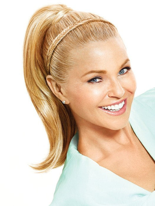 Color HT25 = Medium Golden Blonde | Fishtail Headband by Christie Brinkley