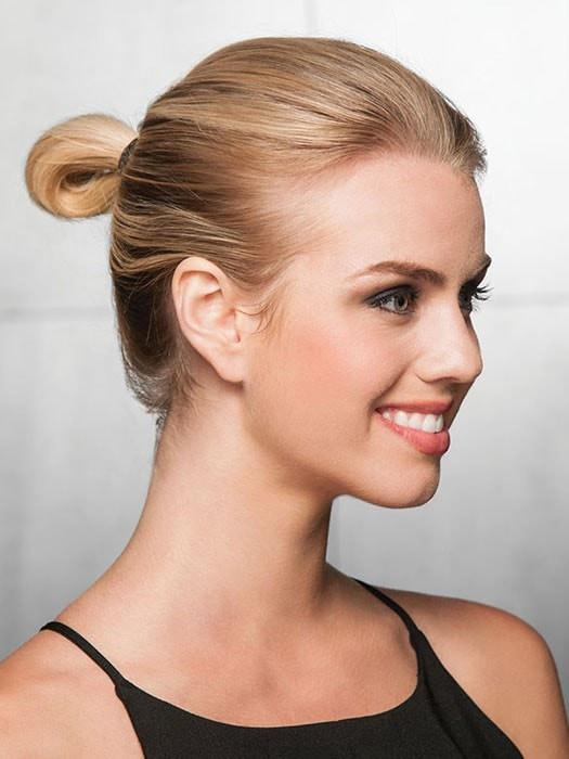 Just wrap these patented elastic-band pieces around a ponytail or bun to maximize your style quotient | Before