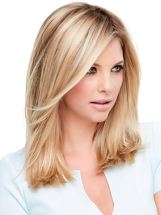Color 12FS8 = Light Golden Brown, Light Natural Golden Blonde & Pale Natural Golden Blonde Blend w/ Dark Brown Roots