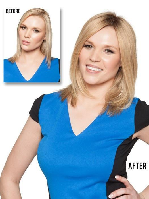 The double monofilament top provides multi-directional styling and looks like natural hair growth