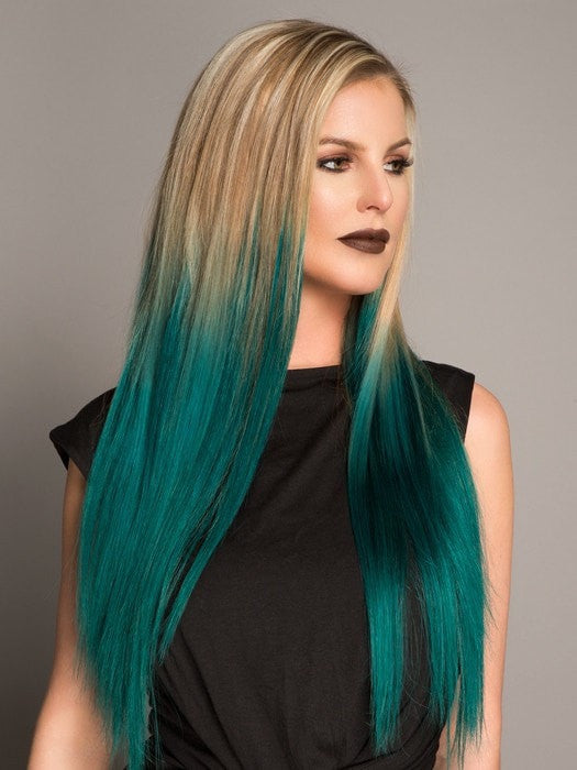 Color 1B/Teal | InvisiWefts are seamless and lay flat on your scalp making them virtually undetectable