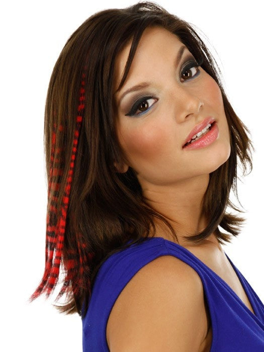 "Color Tiger-Red | 16"" Tiger Print Hair Extension by PutOnPieces Color received may vary. While Supplies Last."