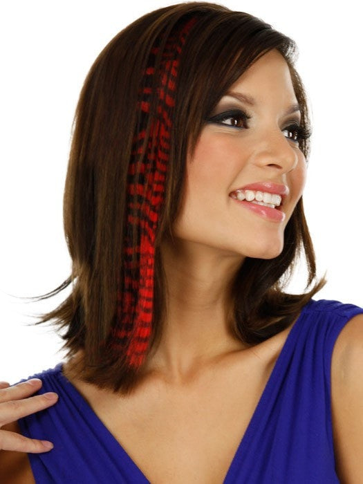 "Color Tiger-Red | 16"" Tiger Print Hair Extension by PutOnPieces. Color received may vary. While Supplies Last."