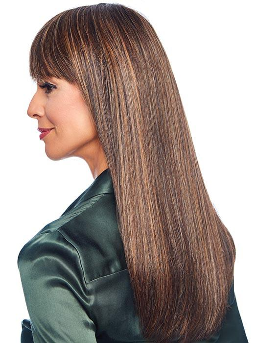 Bangs are optional and can be worn swept away from the face