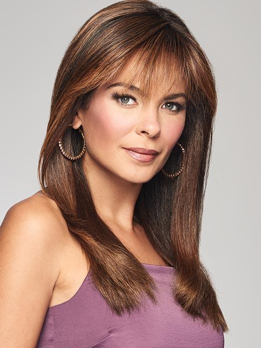TOP BILLING by RAQUEL WELCH in RL8/29SS SHADED HAZELNUT | Warm Medium Brown Evenly Blended with Ginger Blonde and Dark Roots