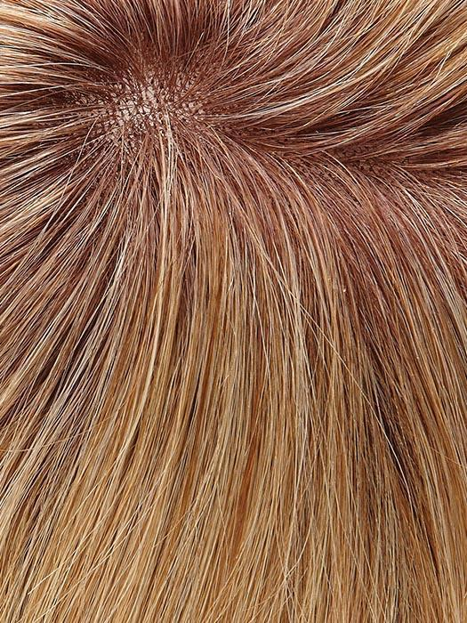27T613S8 SHADED SUN | Medium Natural Red-Gold Blonde & Pale Natural Gold Blonde Blend and Tipped, Shaded with Medium Brown