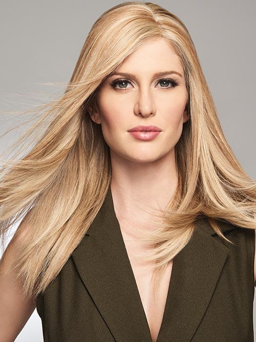 GAME CHANGER by RAQUEL WELCH in R1621S GLAZED SAND | Dark Natural Blonde with Cool Ash Blonde Highlights on Top