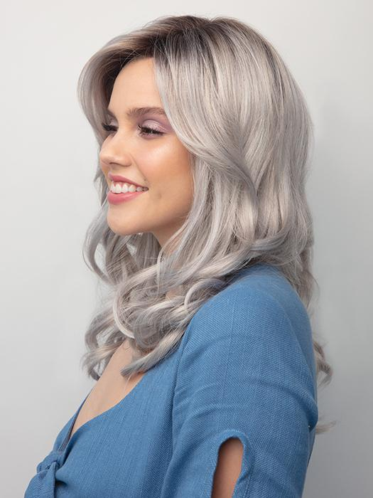 ENSLEY by Rene of Paris in MOONSTONE | Medium Gray with Blue-toned Silver highlights and Dark Roots