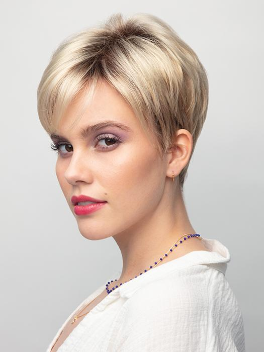 A straight pixie-cut style with side swept bangs and a tapered nape