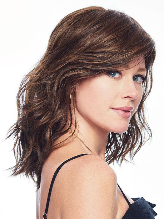 Straighten this mid-length style for a different look or add larger curls for a voluminous look