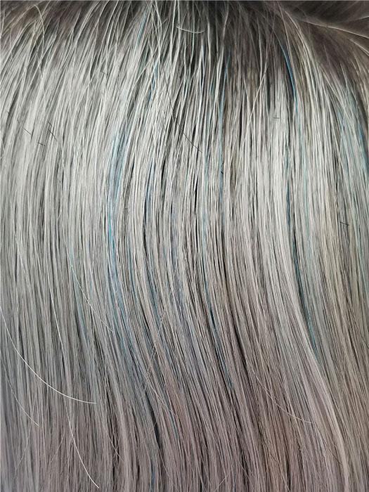 SNOWY-SAPPHIRE-R | Silver White Base with a hint of Soft Blue and Smoky Soft Black Roots