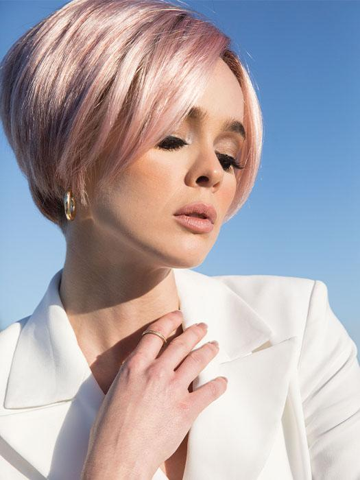 SHANE by Rene of Paris in WATERMELON-R | Rich Pastel Pink Base with Subtle Soft Reddish Tone and Soft Dark Brown Roots