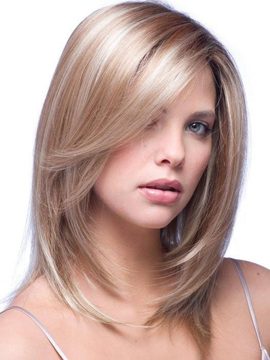 Color Nutmeg-F = Rooted Dark with Honey Brown base with Platinum Blonde highlight | Milan by Noriko
