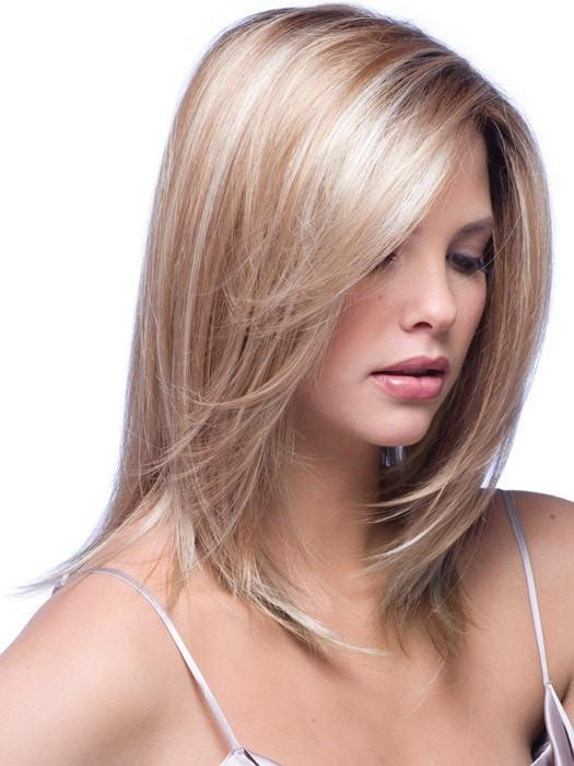 Color Nutmeg-F = Rooted Dark with Honey Brown base with Platinum Blonde highlight