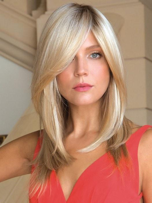 Color Creamy Toast = Rooted Dark with a Platinum base with Dark Gold Blonde highlight | Milan by Noriko