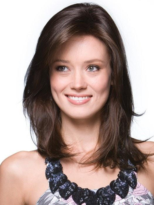 Color Dark-Chocolate = Dark Brown and Medium Brown 50/50 blend | Long Top Piece by Rene of Paris
