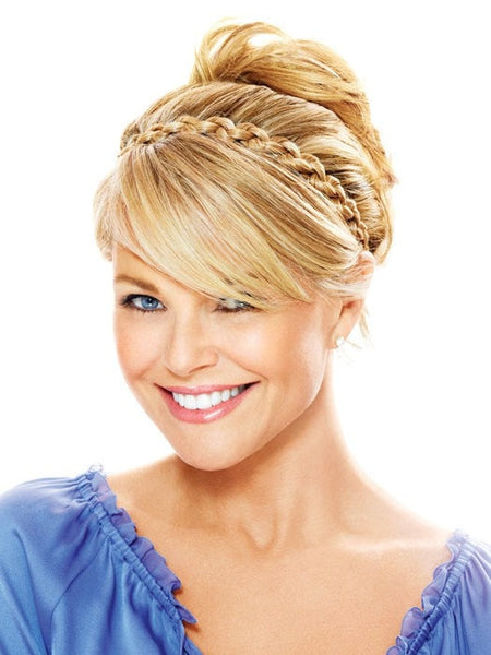Color HT25 = Medium Golden Blonde | Thick Braid Headband by Christie Brinkley