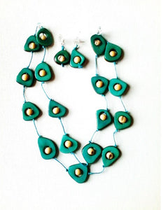 Turquoise Aztec Necklace and Earring Set - Funkecomedina