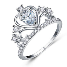 Crystal Heart Crown Ring