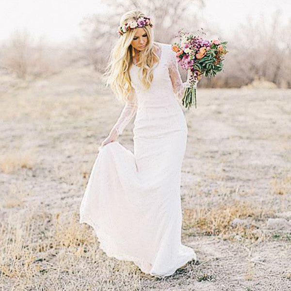 Lace long sleeves bohemian wedding dress beach wedding for Short beach style wedding dresses