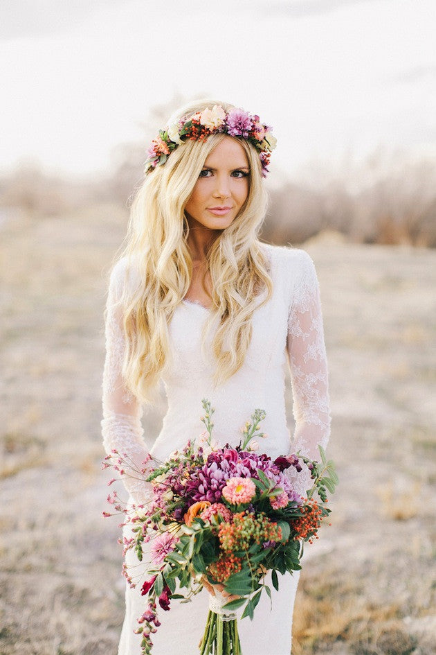 Lace Long Sleeves Bohemian Wedding Dress Beach Wedding Gowns ...
