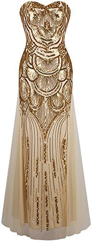 Sequin Beaded Sweetheart NECKLINE MAXI PROM DRESS