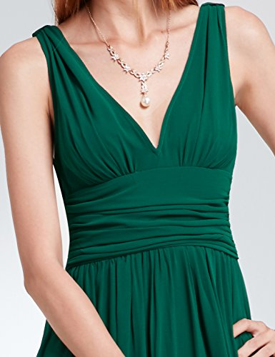 V NECKLINE BRIDESMAID DRESS, Color - White