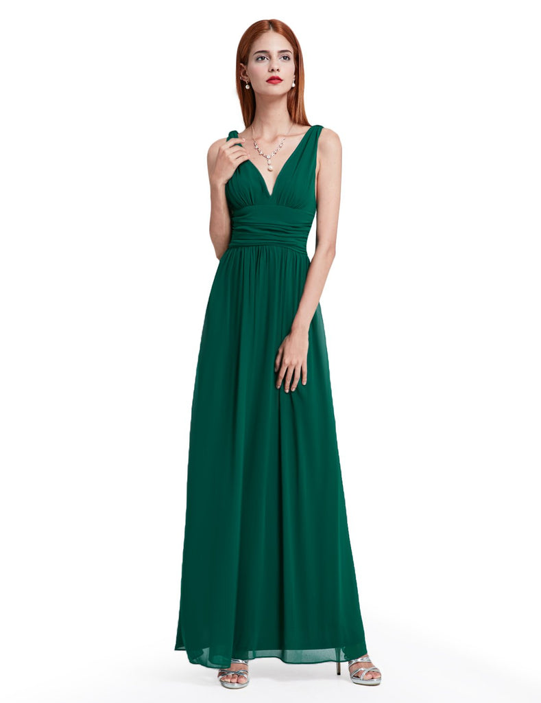V NECKLINE BRIDESMAID DRESS, Color - Blue