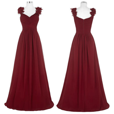 V Neck Long Evening Dress Formal Wedding Party Dress Burgundy Prom Dress