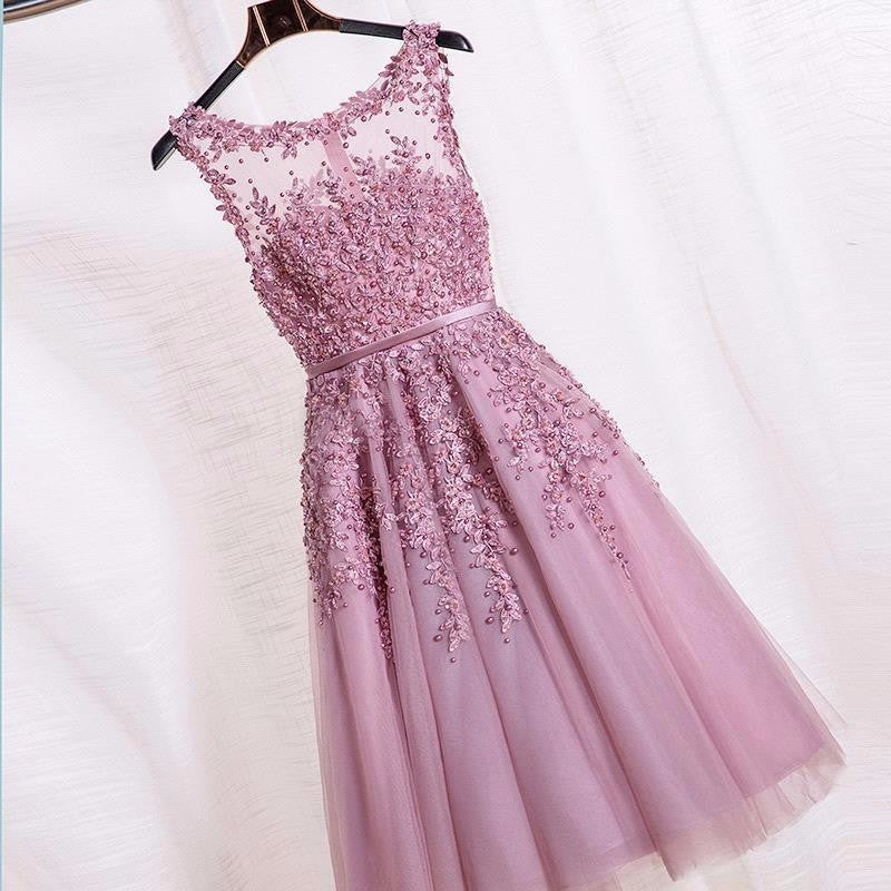 Dust Pink Beaded Lace Appliques Short Prom Dresses