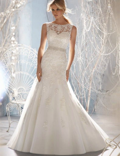 Wedding Dresses Modest A-line Applique