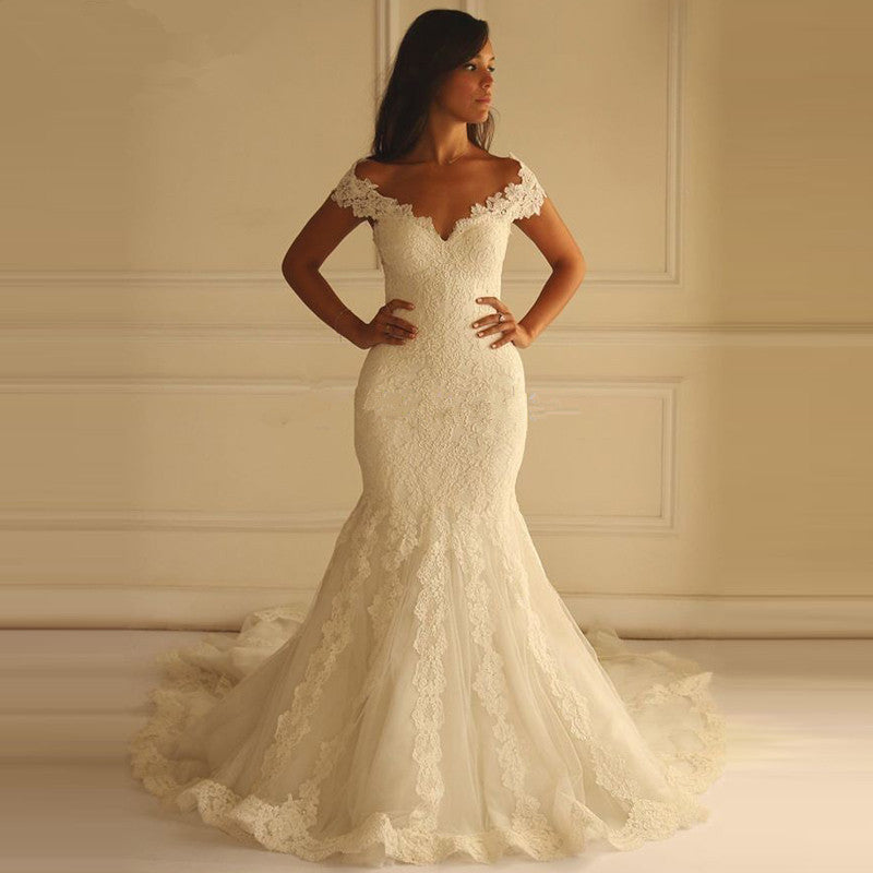 Lace Applique Off Shoulder Mermaid Style Wedding Dress Bohemian
