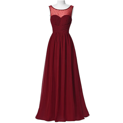 Burgundy Prom Dresses Sleeveless V-Back Wedding Guest Dress