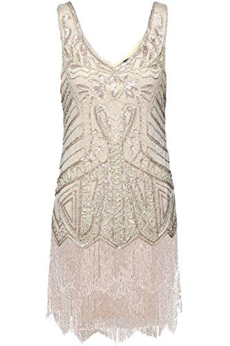 Fringe Short Beaded Sequin Vintage Inspired Prom Dress - Sparkly Prom Dress
