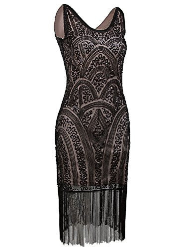 Vintage Inspired Sequin Embellished Fringe Short Prom Dress