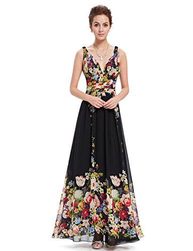 V NECKLINE BRIDESMAID DRESS, Color - Black(printed)