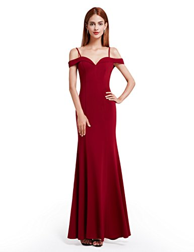 BRIDESMAID DRESS - OFF SHOUDLER, Color - Burgundy