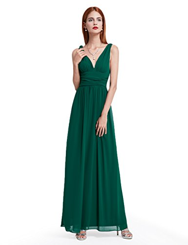 V NECKLINE BRIDESMAID DRESS, Color - Green