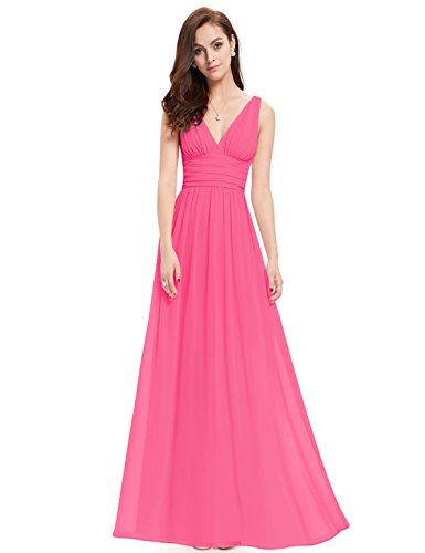 V NECKLINE BRIDESMAID DRESS, Color - Hot Pink