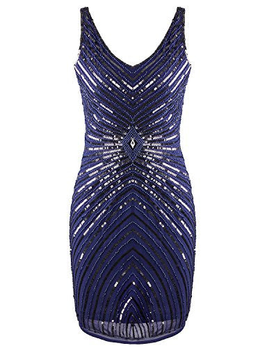V-Neck Sequin Beaded Sleeveless Prom Dress Beaded Vintage Inspired Short Prom Dress