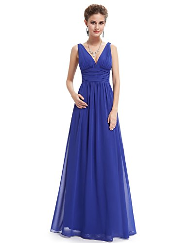 V NECKLINE BRIDESMAID DRESS, Color - Sapphire Blue