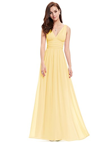 V NECKLINE BRIDESMAID DRESS, Color - Yellow