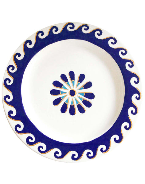 Aegean Dinner Plate - indigo blue & white