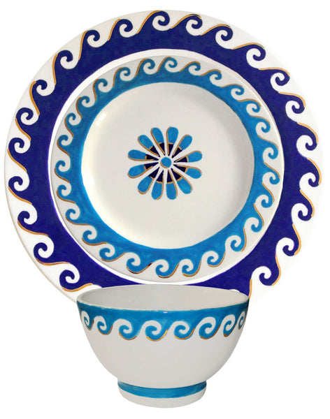 Aegean Side Plate - turquoise on white